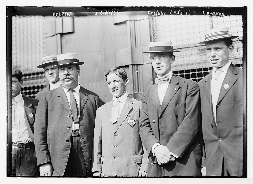 8 x 10 Photo of Halpin, J.J. Hayes, Conway, and Cameron, standing together 1890-1920 G. Bain Collection 73a
