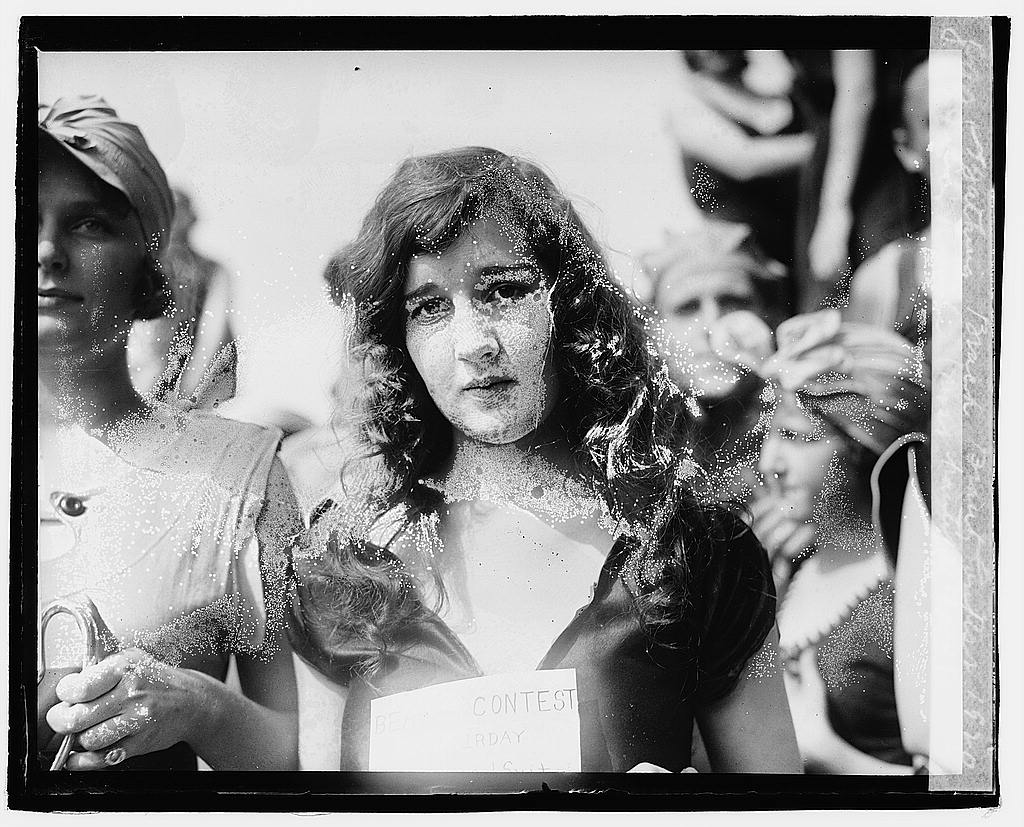 16 x 20 Reprinted Old Photo ofBathing beach beauty contest, 1920, Eliz. Roache most beautiful suit  1920 National Photo Co  80a