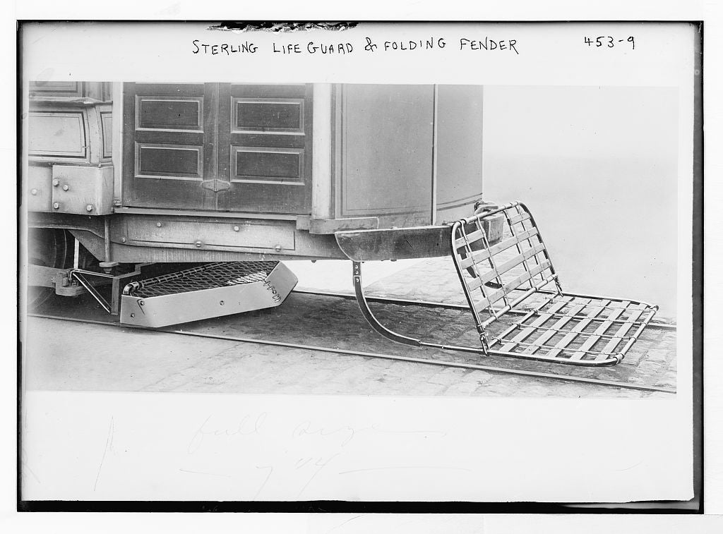 8 x 10 Photo of Sterling life guard and folding fender, attached to train 1890-1920 G. Bain Collection 78a