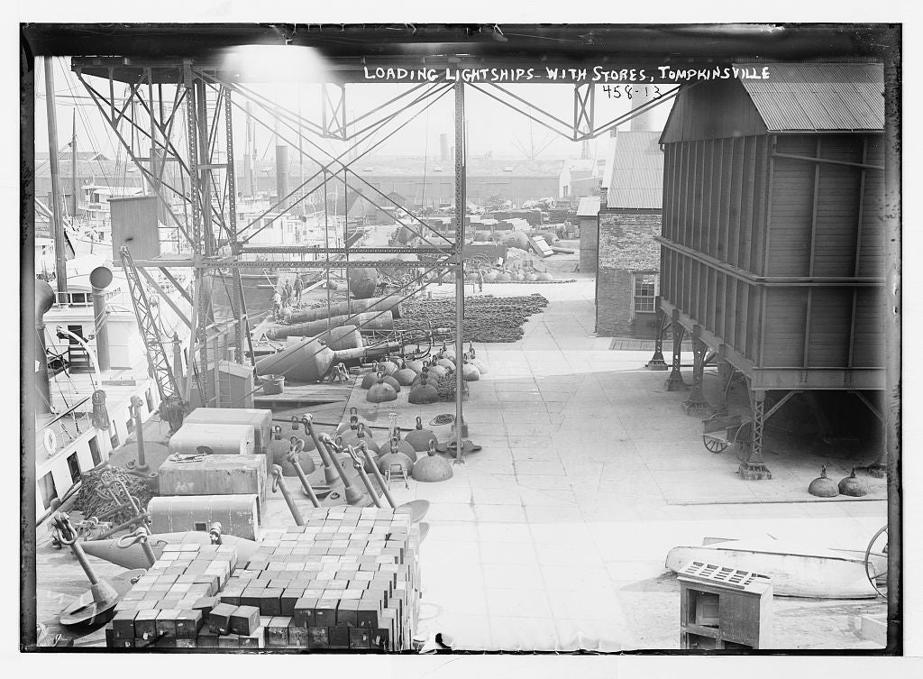 8 x 10 Photo of Deck of lightships, loaded with supplies, Thompkinsville 1890-1920 G. Bain Collection 01a