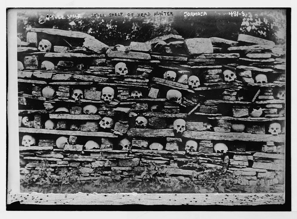 8 x 10 Photo of Skull shelf of head hunter, Formosa 1890-1920 G. Bain Collection 21a