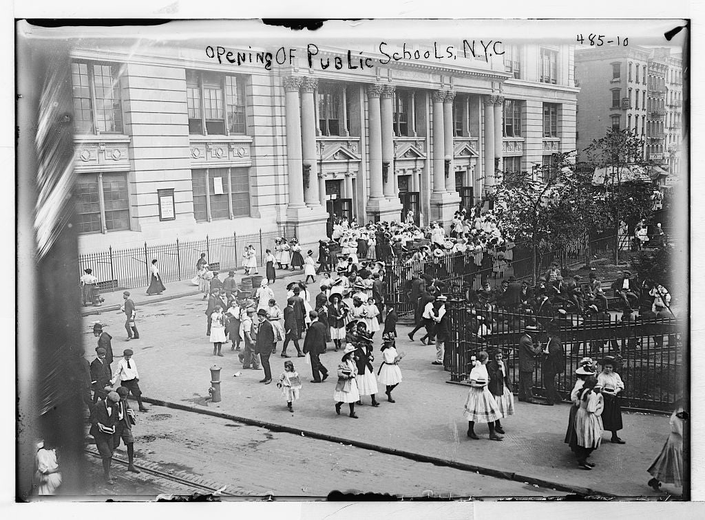 8 x 10 Photo of Children outside public school, opening day, New York 1890-1920 G. Bain Collection 40a