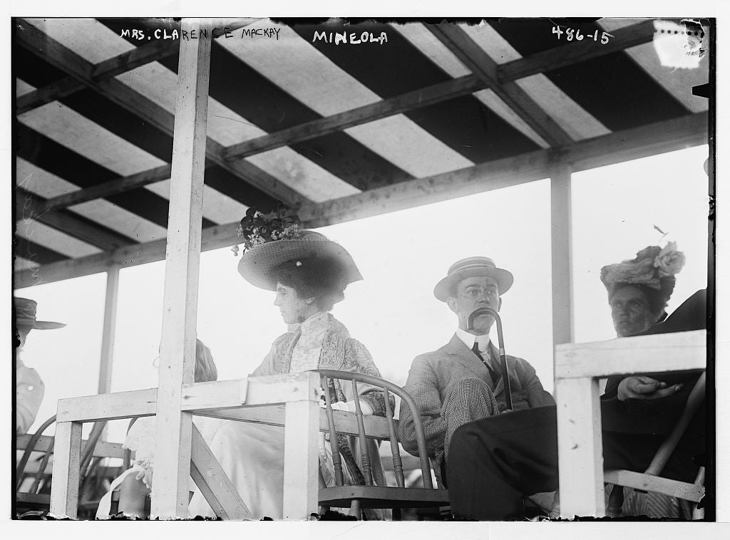 8 x 10 Photo of Mrs. Clarence MacKay, in stands at Mineola race track 1890-1920 G. Bain Collection 50a