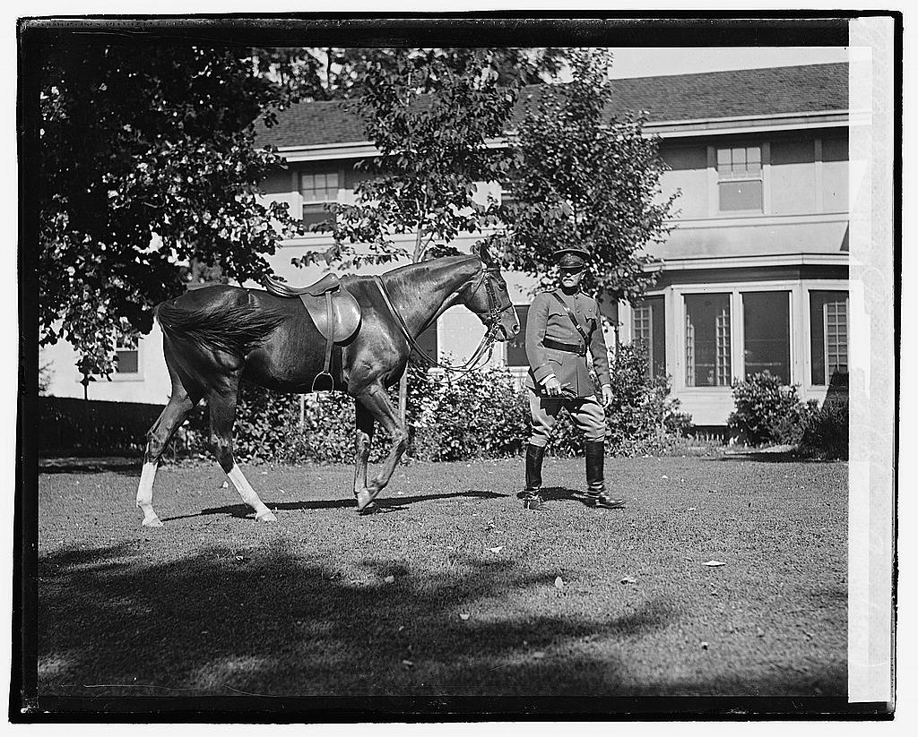 16 x 20 Reprinted Old Photo ofGeneral Pershing horse Quidron?  1920 National Photo Co  04a