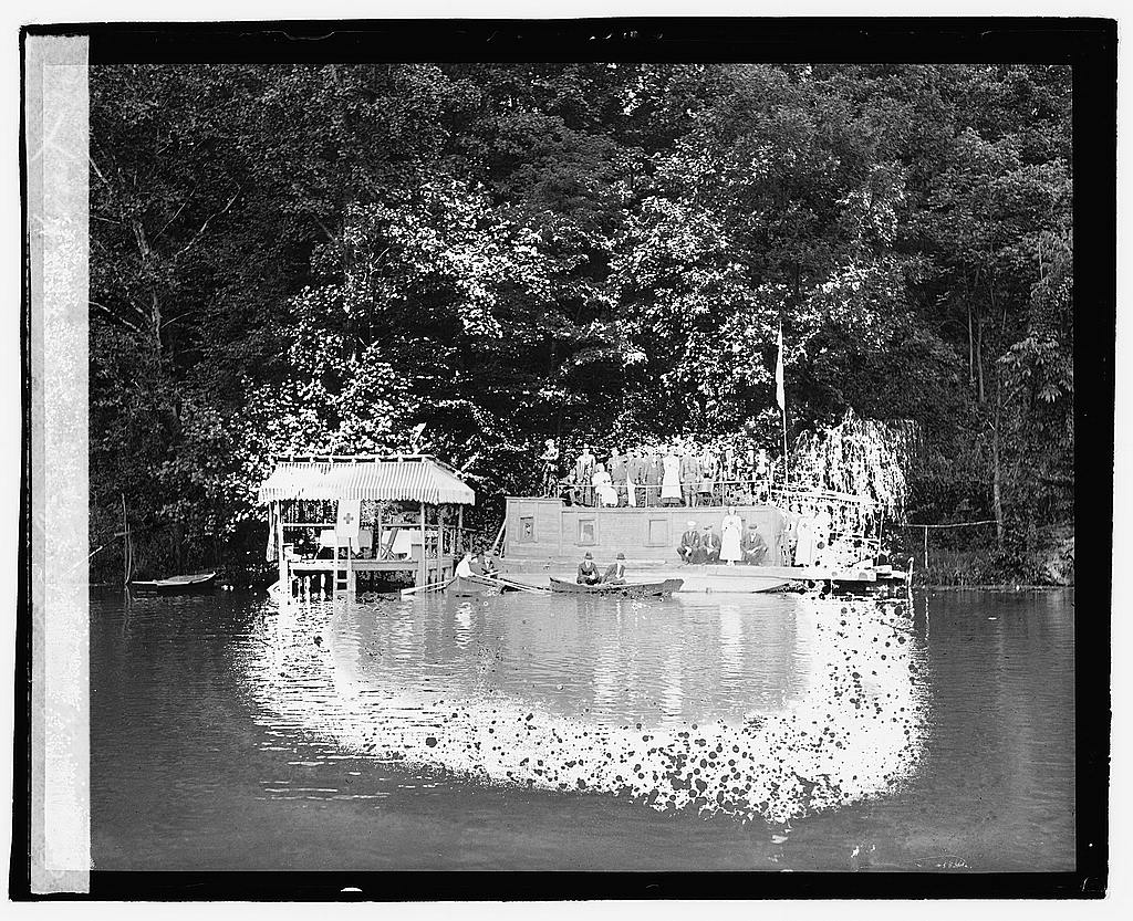 16 x 20 Reprinted Old Photo ofAm. Red Cross houseboat 1920 National Photo Co  35a