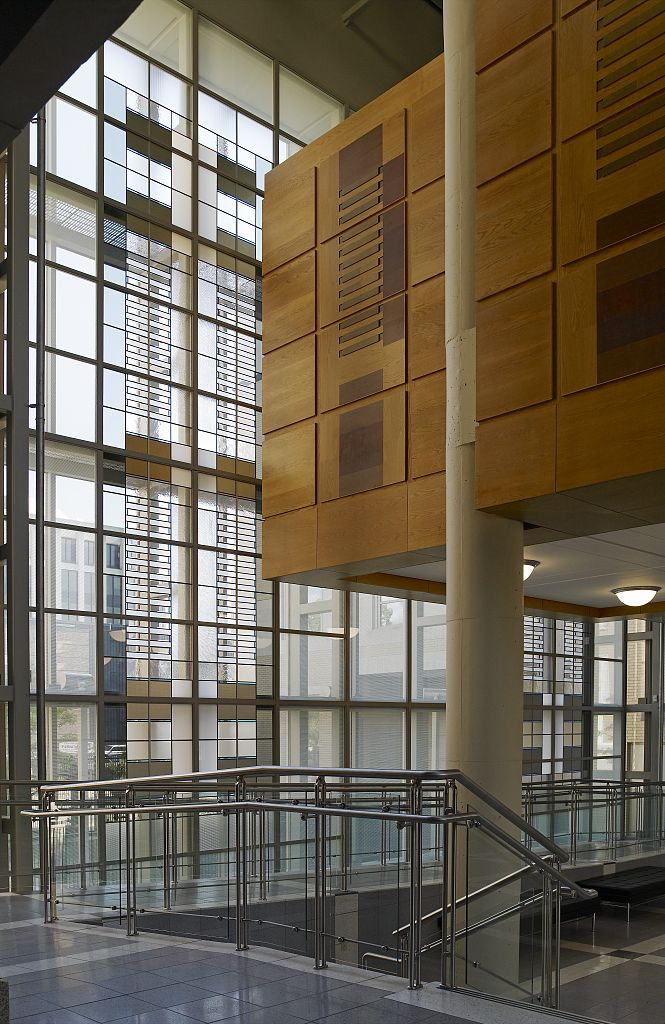 18 x 24 Photograph reprinted on fine art canvas  of Untitled glass windows at Federal Building and U.S. Courthouse Erie Pennsylvania r17 2007 August by Highsmith, Carol M.,