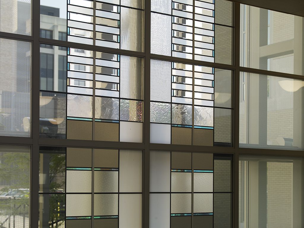 18 x 24 Photograph reprinted on fine art canvas  of Untitled glass windows at Federal Building and U.S. Courthouse Erie Pennsylvania r18 2007 August by Highsmith, Carol M.,