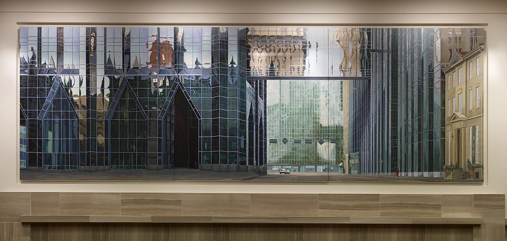 "18 x 24 Photograph reprinted on fine art canvas  of Oil painting ""Fourth and Market PPG Center"" at U.S. Courthouse and Post Office Pittsburgh Pennsylvania r28 2007 by Highsmith, Carol M.,"