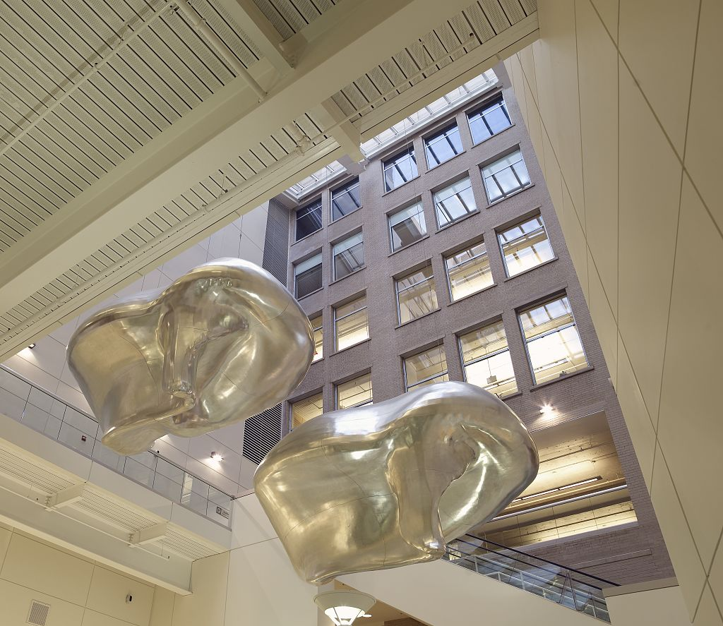 "18 x 24 Photograph reprinted on fine art canvas  of Sculpture ""La Tormenta The Storm "" located in interior atrium of U.S. Citizenship and Immigration Services DHS Chicago Illinois r46 2007 by Highsmith, Carol M.,"