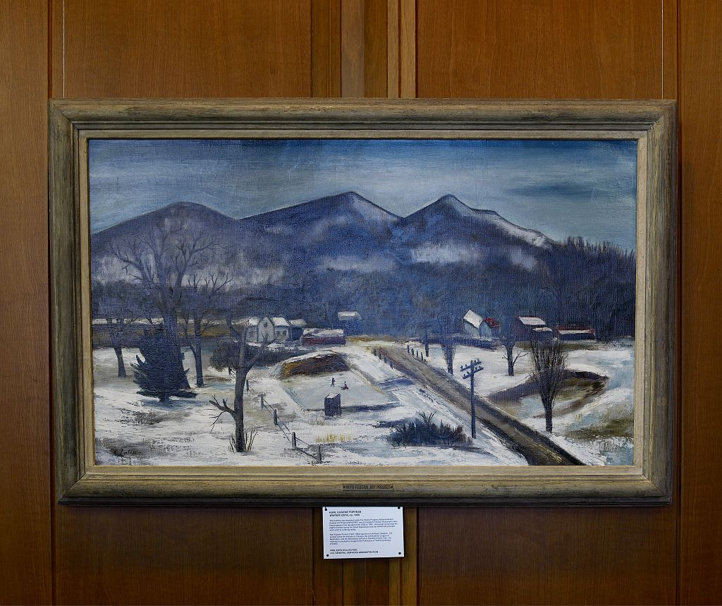 "18 x 24 Photograph reprinted on fine art canvas  of Oil painting ""Winter Vista"" at Region 5 Customs House Chicago Illinois r51 2007 by Highsmith, Carol M.,"