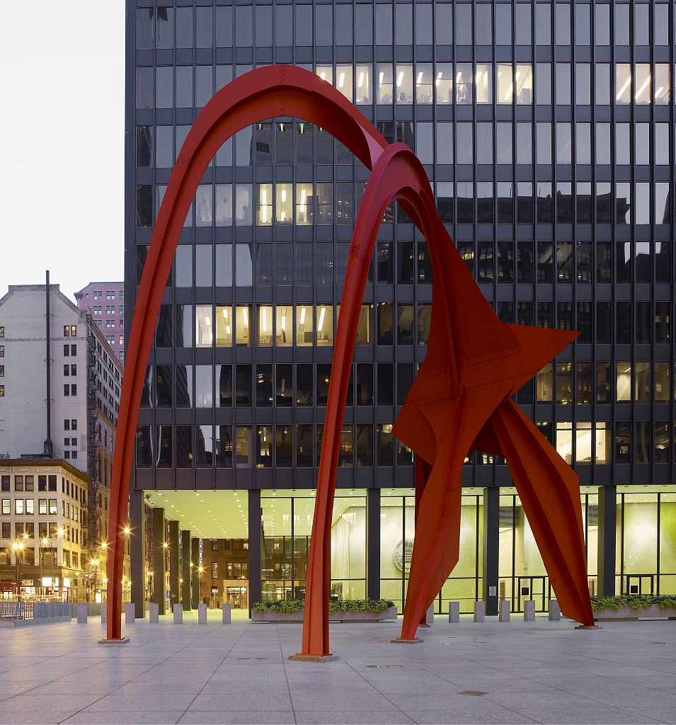 "18 x 24 Photograph reprinted on fine art canvas  of Sculpture ""Flamingo"" at Federal Center Plaza John C. Kluczynski Federal Building Chicago Illinois r65 2007 by Highsmith, Carol M.,"