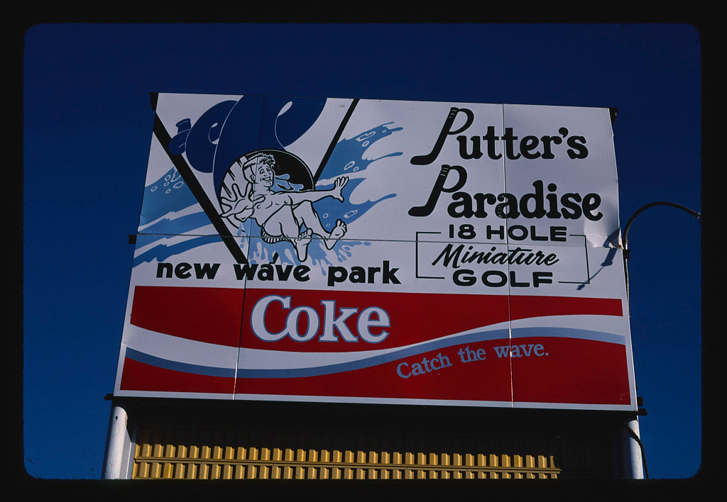 8 x 12 Photo of Sign, Putter's Paradise mini golf at New Wave Park, Missoula, Montana 1987 Margolies, John 23a