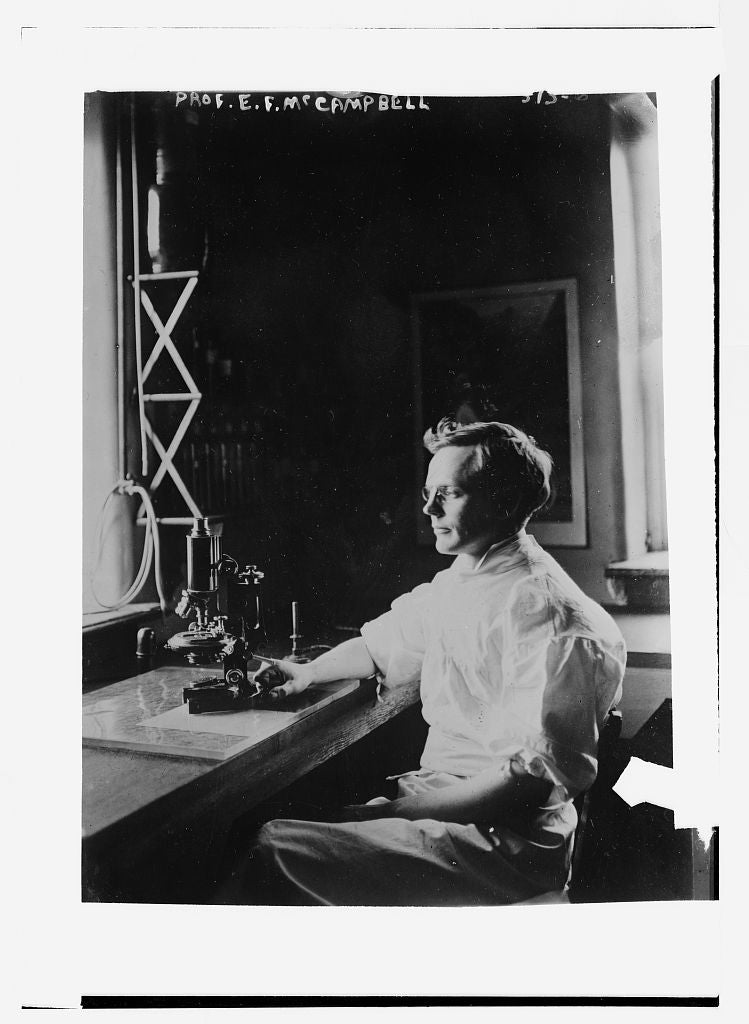 8 x 10 Photo of Prof. E.F. McCampbell, in lab with microscope 1890-1920 G. Bain Collection 92a