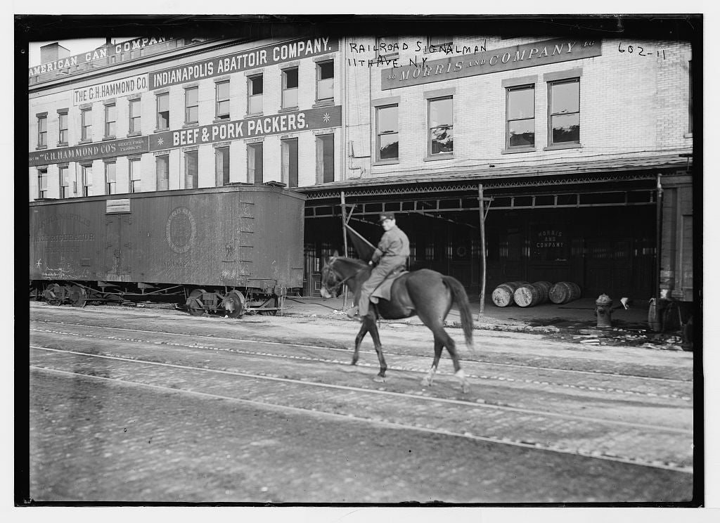 8 x 10 Photo of Railroad cars and equestrian signalman on 11th Ave., New York 1890-1920 G. Bain Collection 54a