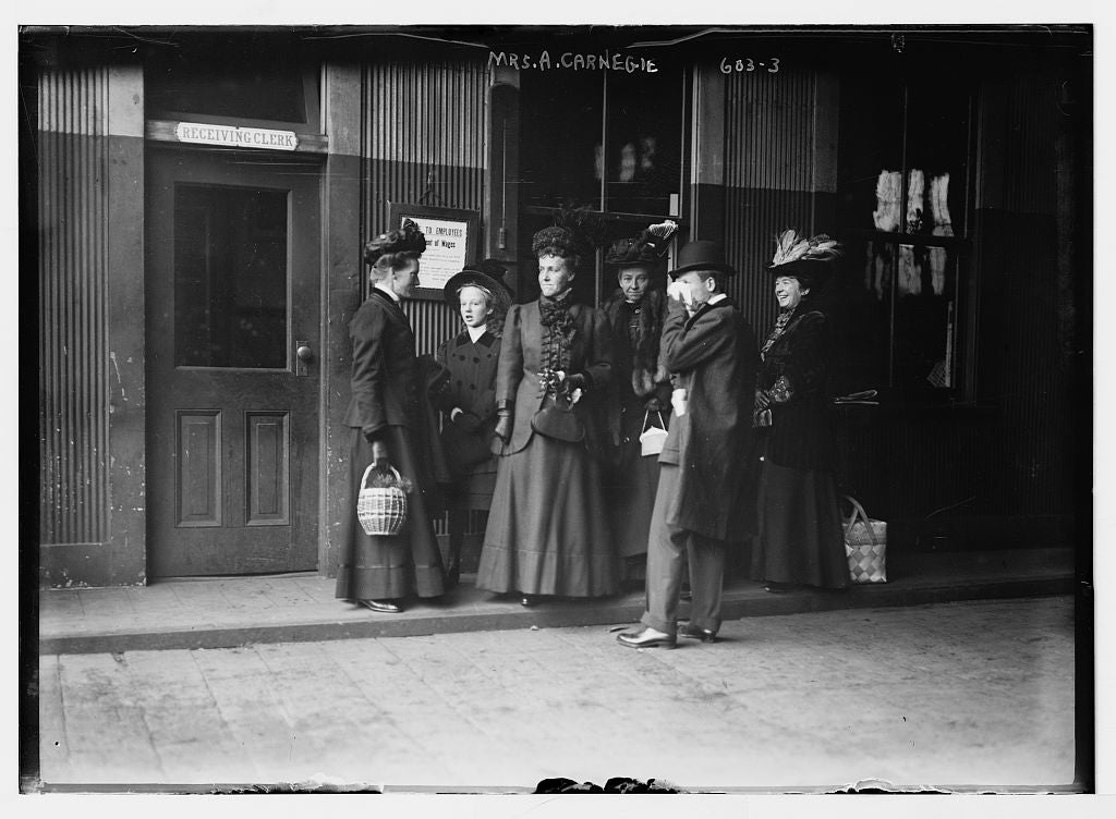 8 x 10 Photo of Mrs. A. Carnegie, at railroad station, with others 1890-1920 G. Bain Collection 57a