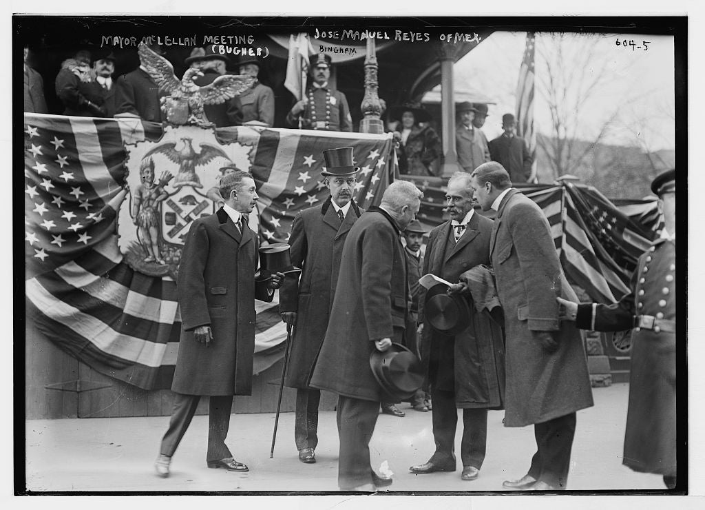 8 x 10 Photo of Mayor McClellan meeting Jose Manuel Reyes, Mex., New York 1890-1920 G. Bain Collection 62a