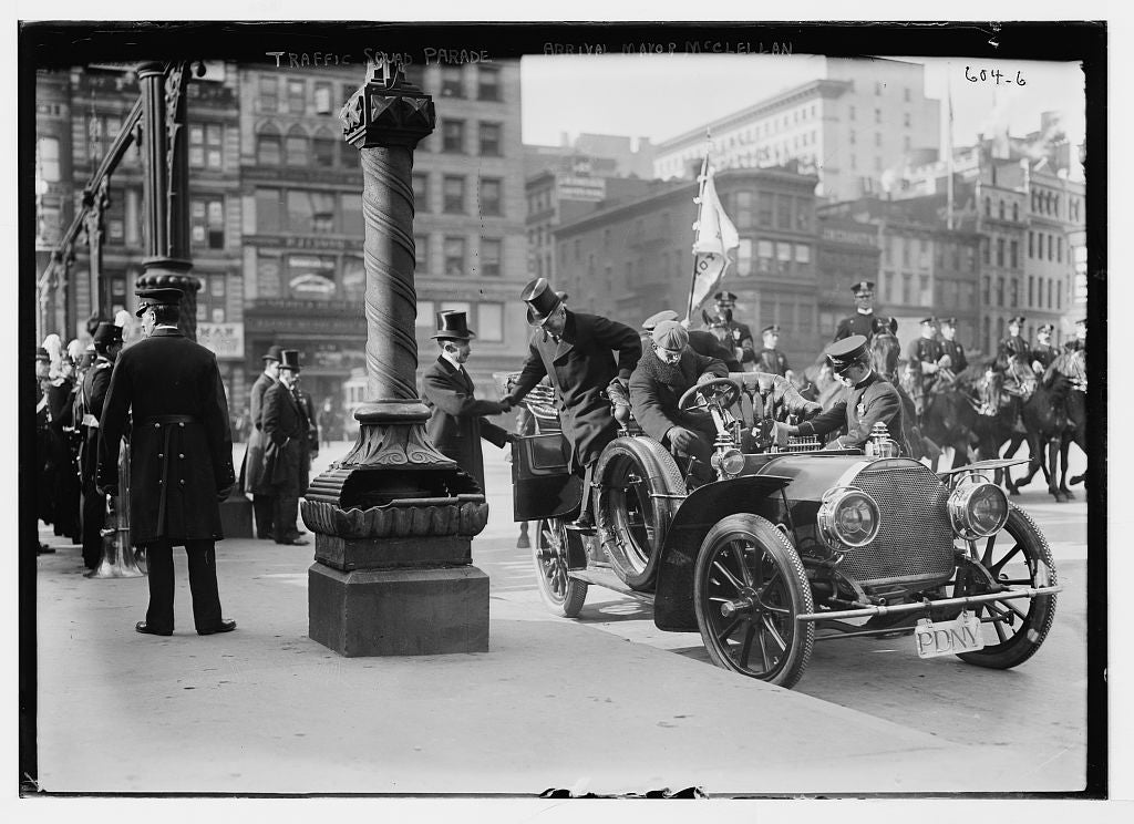 8 x 10 Photo of Traffic Squad Parade, Mayor Mc Clellan alighting from auto, New York 1890-1920 G. Bain Collection 63a