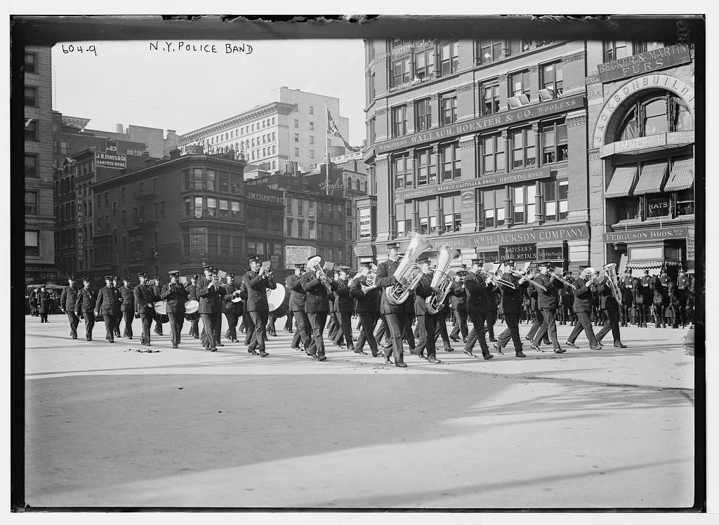 8 x 10 Photo of New York Police Band, New York 1890-1920 G. Bain Collection 66a