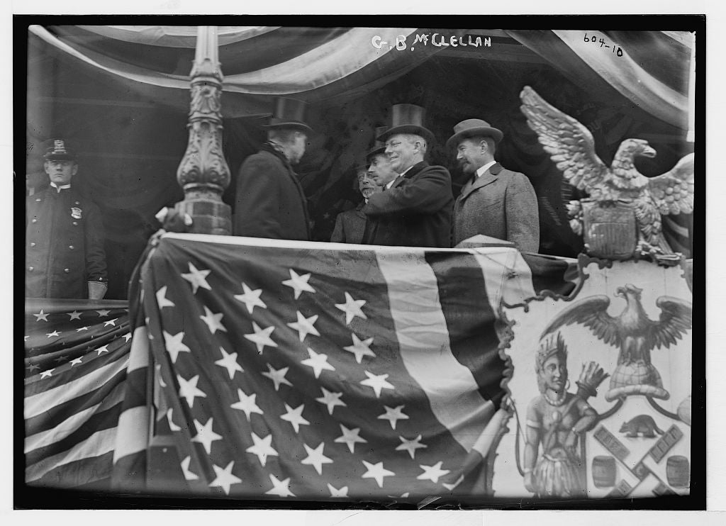 8 x 10 Photo of Mayor McClellan and others on flag-bedecked podium, New York 1890-1920 G. Bain Collection 67a