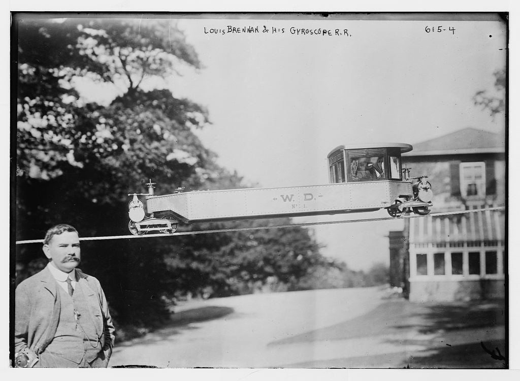 8 x 10 Photo of Louis Brennan and his gyroscope railroad, New York 1890-1920 G. Bain Collection 01a