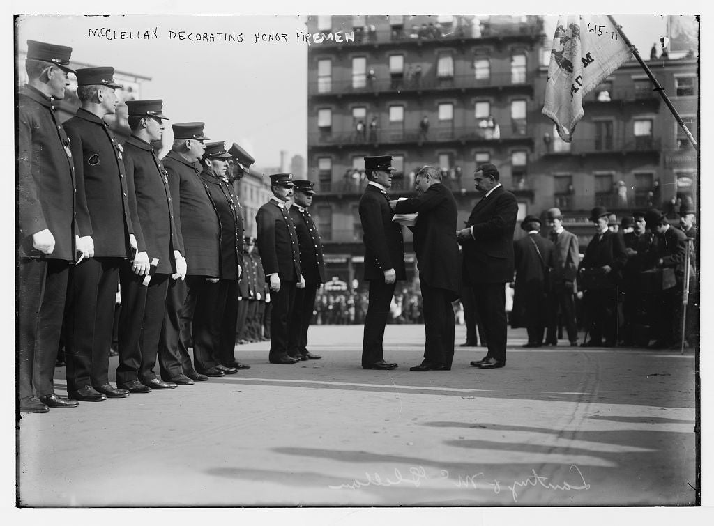 8 x 10 Photo of Mayor McClellan pinning medals on honor fireman 1890-1920 G. Bain Collection 06a