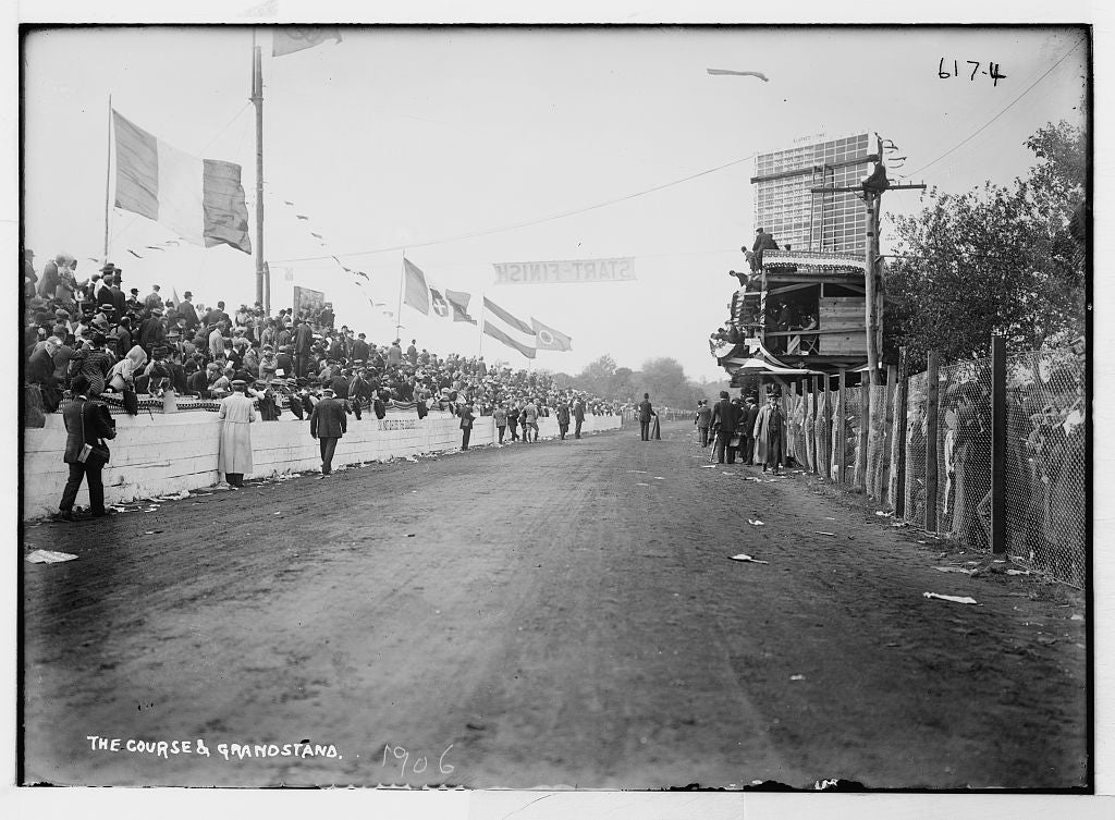 8 x 10 Photo of Auto Race, course and grandstand 1890-1920 G. Bain Collection 15a