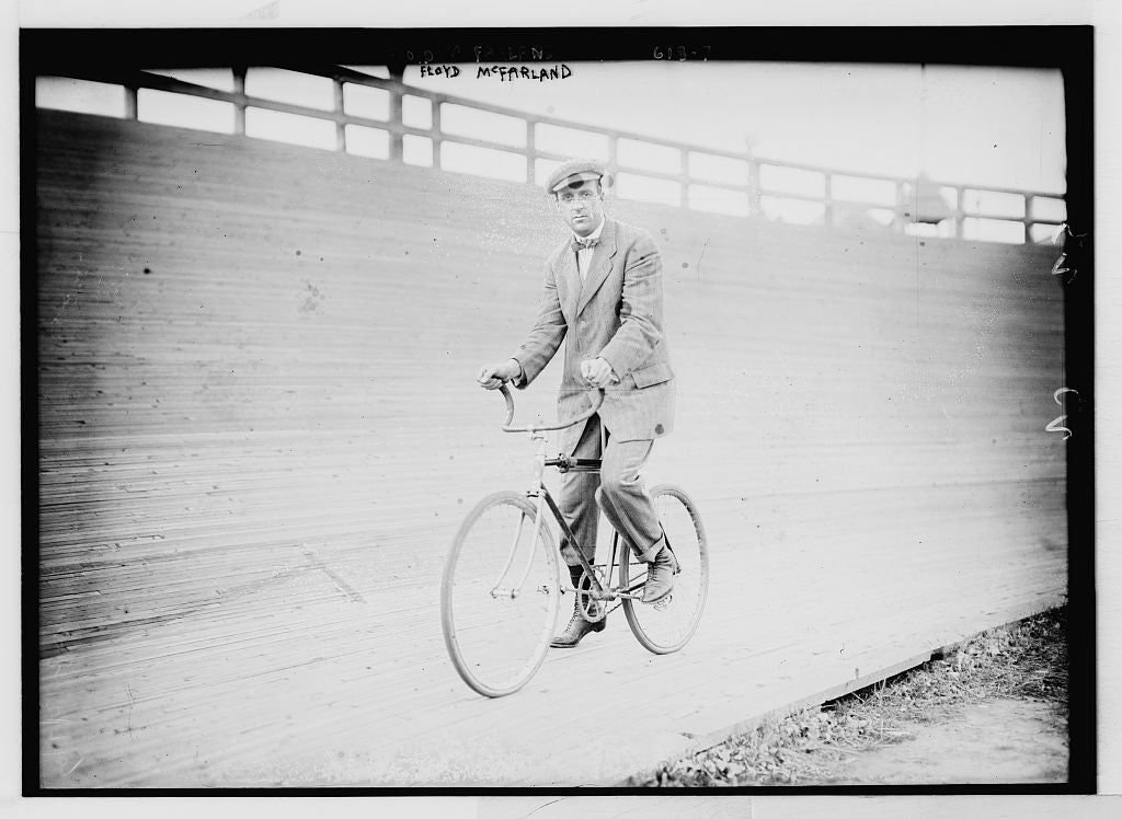 8 x 10 Photo of Floyd McFarland, on bicycle 1890-1920 G. Bain Collection 19a