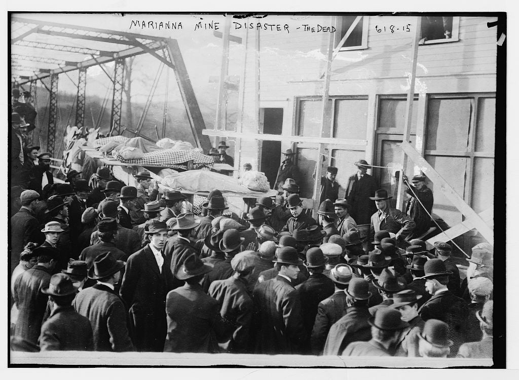 8 x 10 Photo of Marianna Mine Disaster, carrying the dead on stretchers, Marianna, PA. 1890-1920 G. Bain Collection 20a