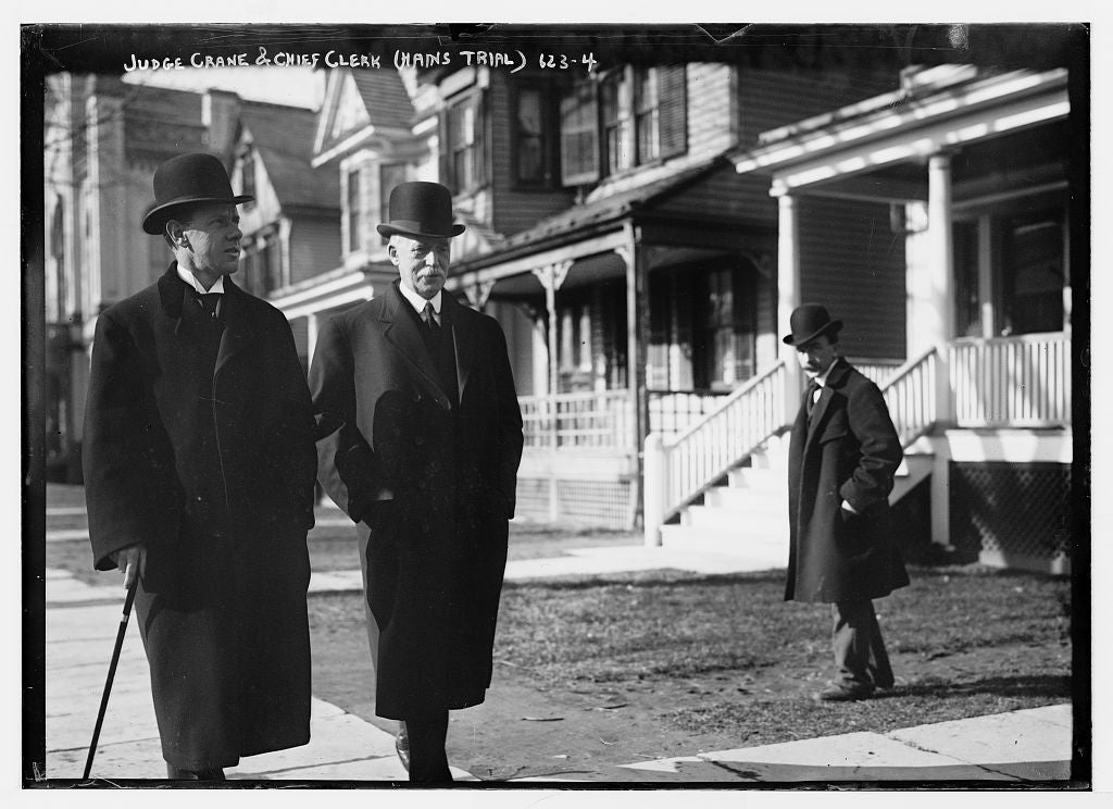 8 x 10 Photo of Judge Crane and Chief Clerk during Hains trial, on sidewalk, New York 1890-1920 G. Bain Collection 36a