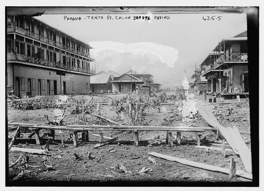 8 x 10 Photo of Tenth Street, before paving, Panama 1890-1920 G. Bain Collection 49a