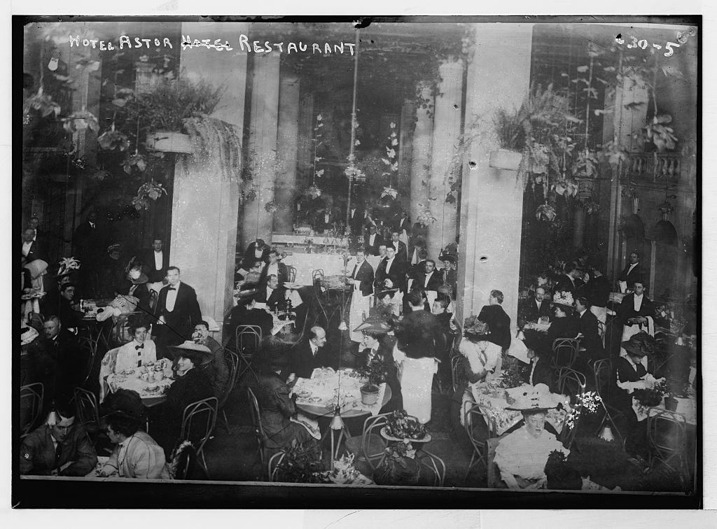 8 x 10 Photo of Restaurant of Hotel Astor, New York 1890-1920 G. Bain Collection 57a
