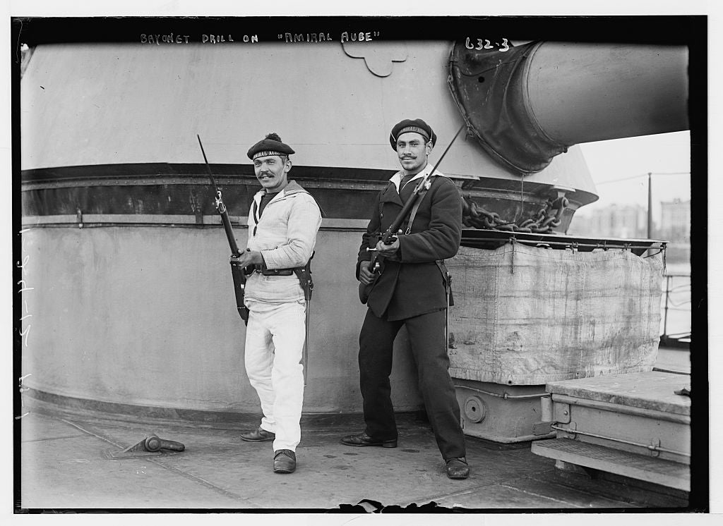 8 x 10 Photo of Two sailors in bayonet drill aboard deck of Amiral Aube, French ship 1890-1920 G. Bain Collection 67a