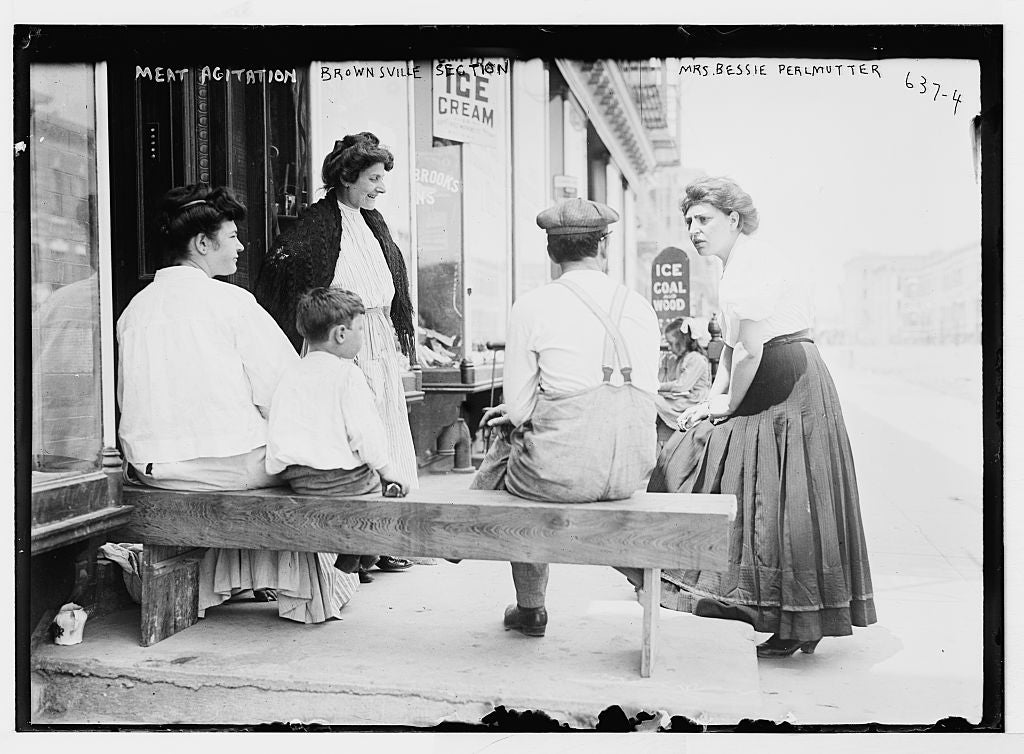 8 x 10 Photo of Mrs. Bessie Perlmutter and others outside store, meat agitation, New York, Brownsville Section 1890-1920 G. Bain Collection 76a