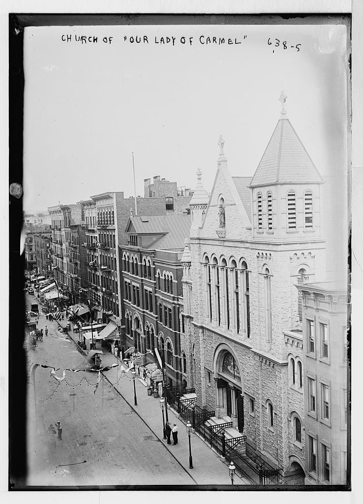 8 x 10 Photo of Street scene, including Church of Our Lady of Carmel, New York 1890-1920 G. Bain Collection 80a