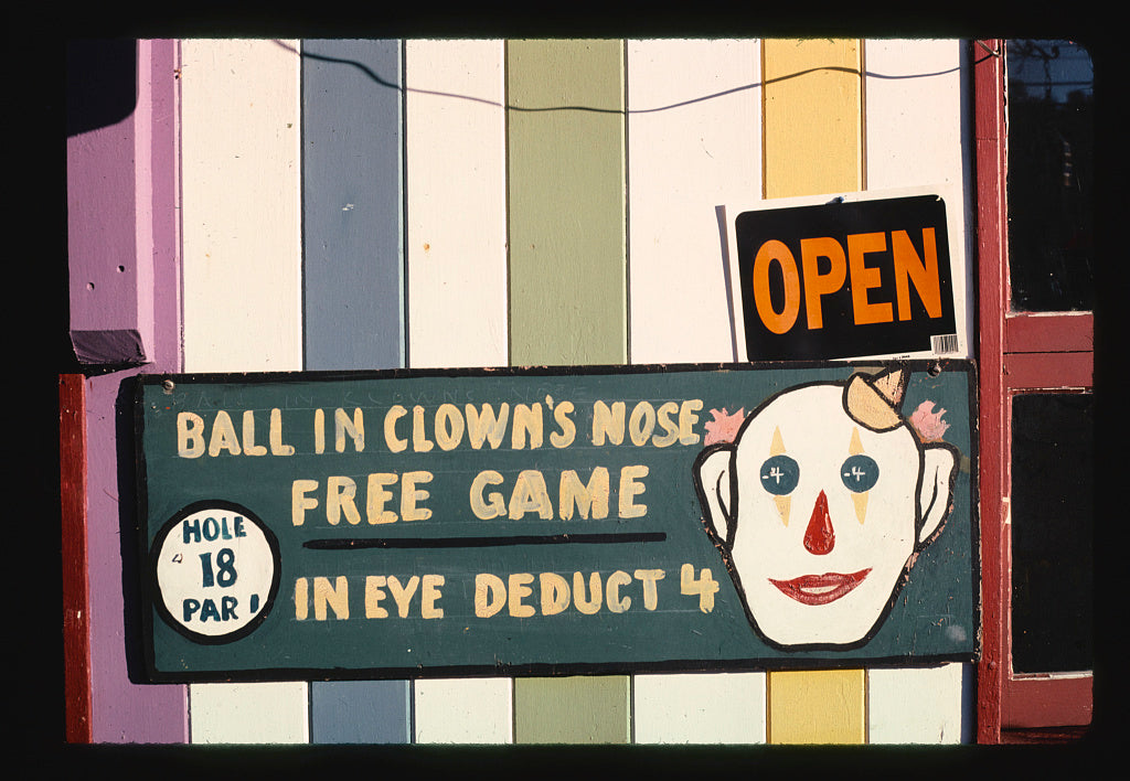 8 x 12 Photo of Clown 18th hole sign 1, Nutty-Putty, Old Forge, New York 2002 Margolies, John 45a