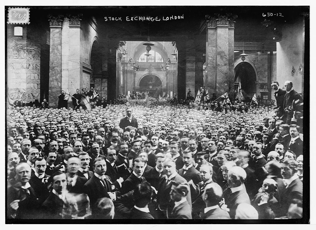 8 x 10 Photo of Crowd on stock exchange floor, London 1890-1920 G. Bain Collection 99a