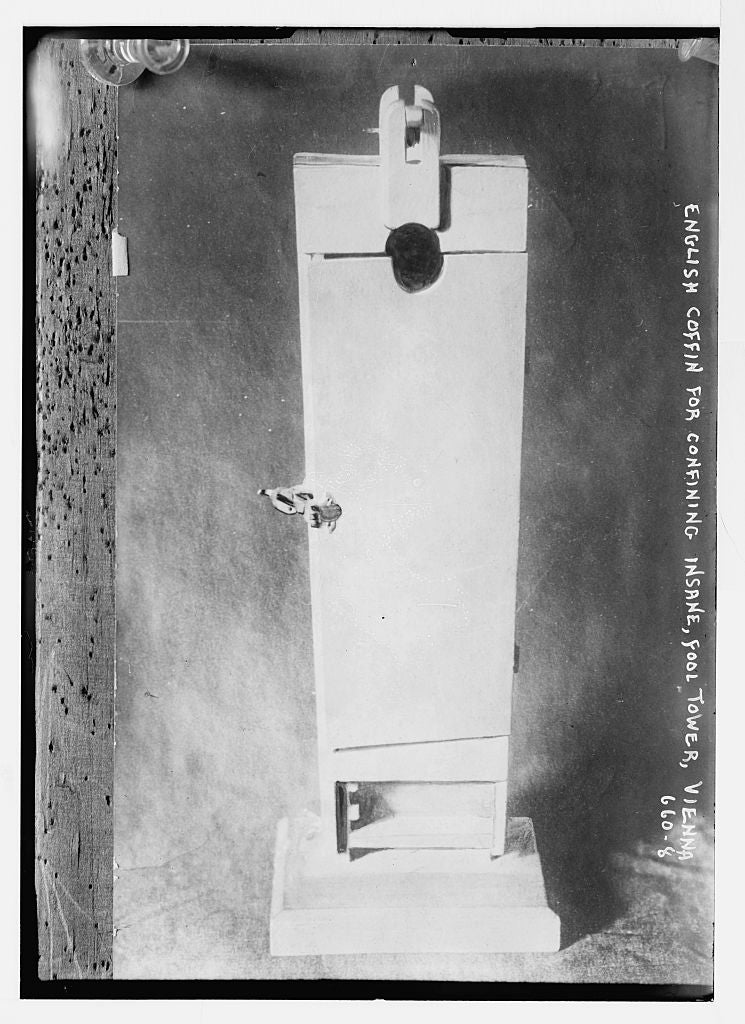 8 x 10 Photo of English coffin for confining insane, Fool Tower, Vienna 1890-1920 G. Bain Collection 25a