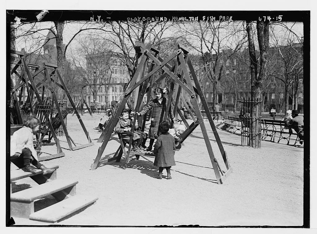 8 x 10 Photo of Children in playground swings, Hamilton Fish Park, New York 1890-1920 G. Bain Collection 43a