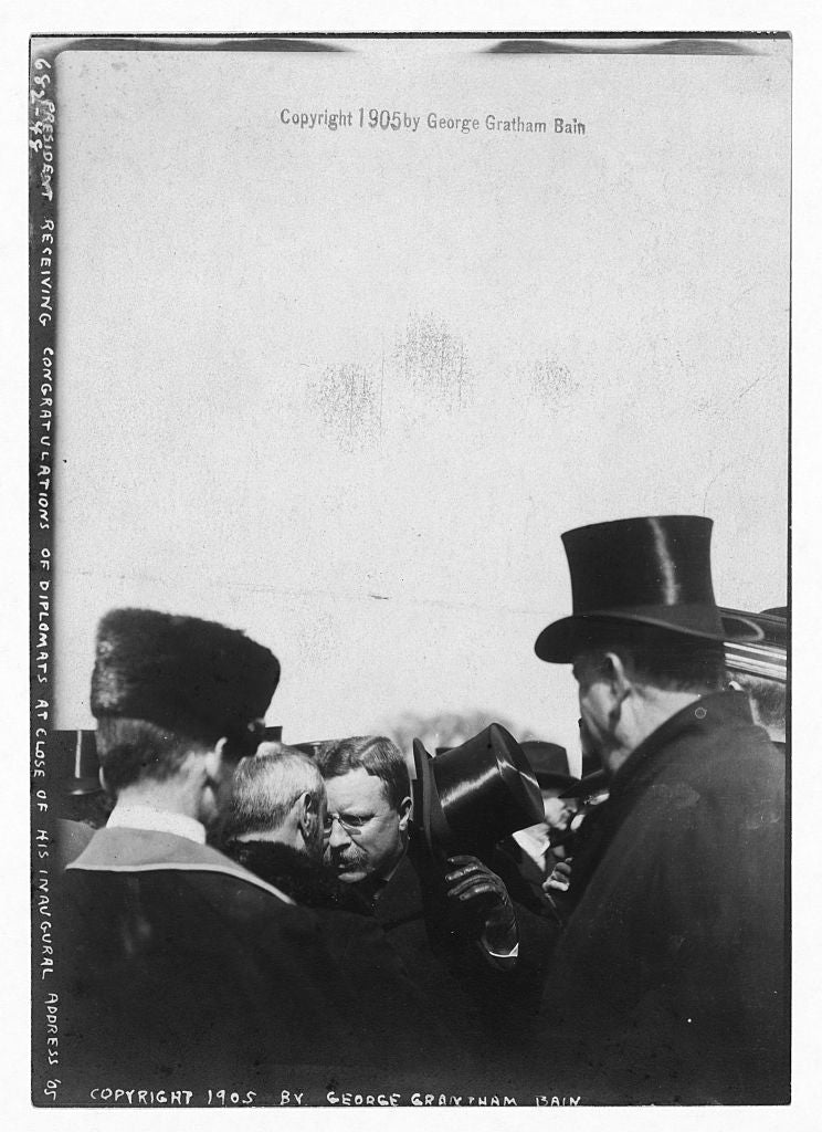 8 x 10 Photo of President Roosevelt congratulated by diplomats after inaugural address 1890-1920 G. Bain Collection 58a