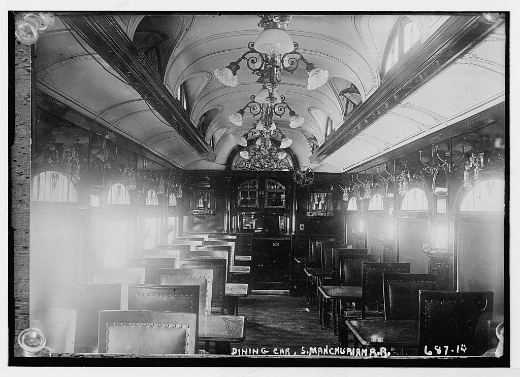 8 x 10 Photo of Dining car, S. Manchurian R.R. 1890-1920 G. Bain Collection 62a