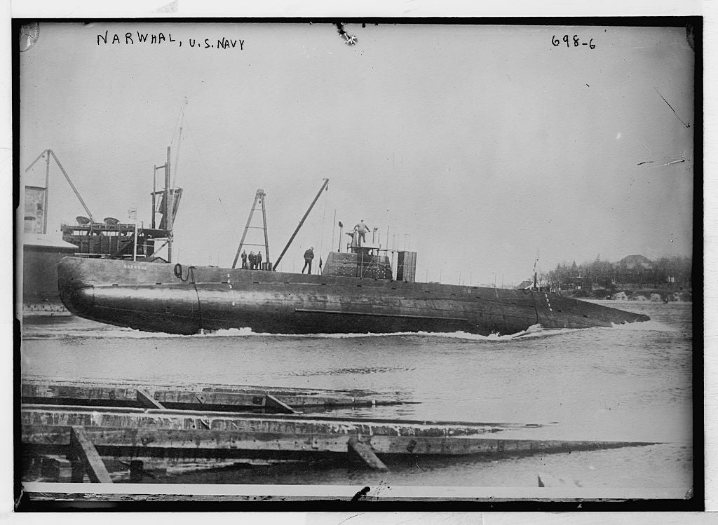 8 x 10 Photo of Narwhal-U.S. Navy Submarine 1890-1920 G. Bain Collection 79a