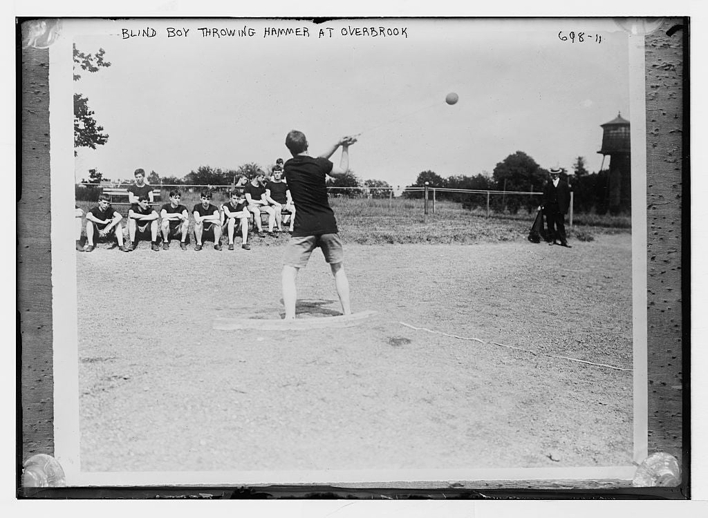 8 x 10 Photo of Blind boy hammer-throwing, Overbrook 1890-1920 G. Bain Collection 81a