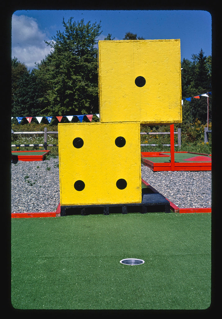 8 x 12 Photo of Dice, Hole in One mini golf, Route 1, Waldoboro, Maine 1984 Margolies, John 30a
