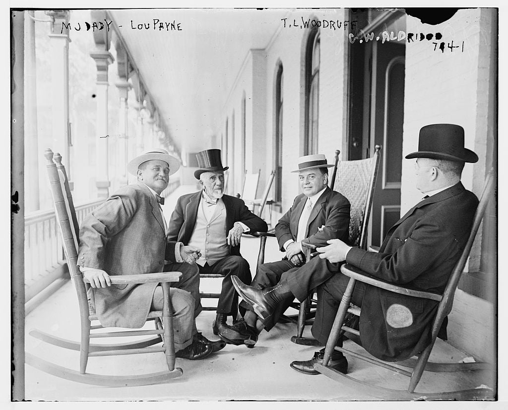 8 x 10 Photo of M.J. Dady, Lou Payne, T.L. Woodruff, and G.W. Aldridge, seated together on porch 1890-1920 G. Bain Collection 13a