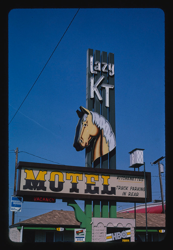 8 x 12 Photo of Lazy KT Motel sign, 1st Avenue North, Billings, Montana 2004 Margolies, John 49a