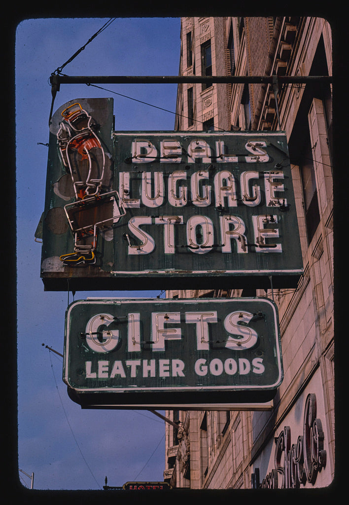 8 x 12 Photo of Deals Luggage Store sign, 3rd Street, Macon, Georgia 1982 Margolies, John 49a