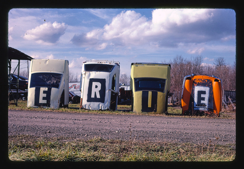 8 x 12 Photo of Erie Foreign Car Parts sign, front, Mohawk Street, Whitesboro, New York 1987 Margolies, John 09a