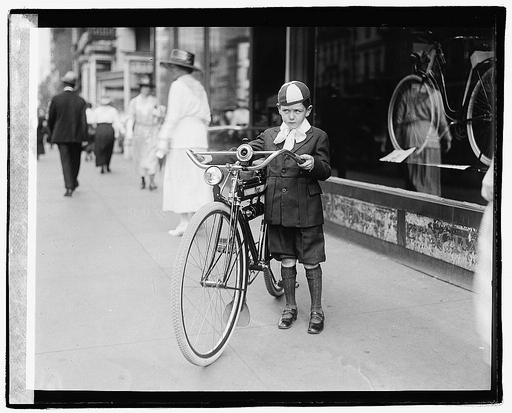 16 x 20 Reprinted Old Photo ofTimes boy on bicycle 1921 National Photo Co  86a