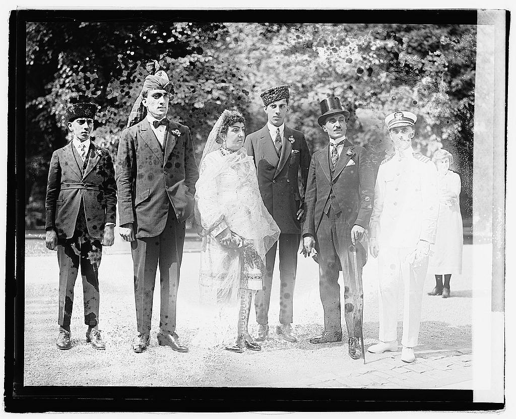 16 x 20 Reprinted Old Photo ofPrincess Fatima of Afghanistan with her three sons, eldest is second from left; with second from right, Prince Zerdechene of Millan, and right 1921 National Photo Co  44a