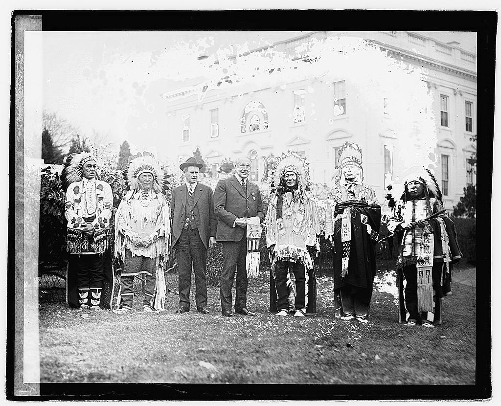 16 x 20 Reprinted Old Photo ofHarding with group of Native Americans at White House, 11/16/21 1921 National Photo Co  25a
